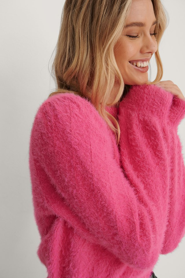 Fuzzy Knitted Sweater Cerise