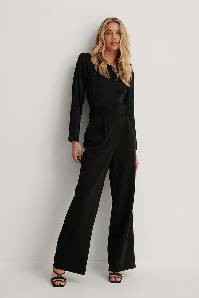 Highwaisted Flared Suit Pants Black