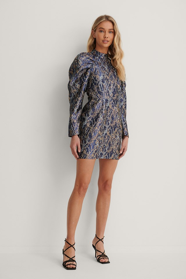 Puffy Sleeve Pattern Mini Dress Blue