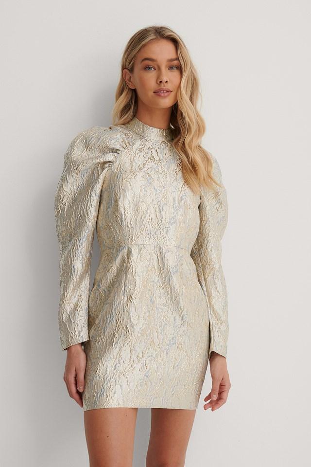 Puffy Sleeve Pattern Mini Dress Gold/Blue