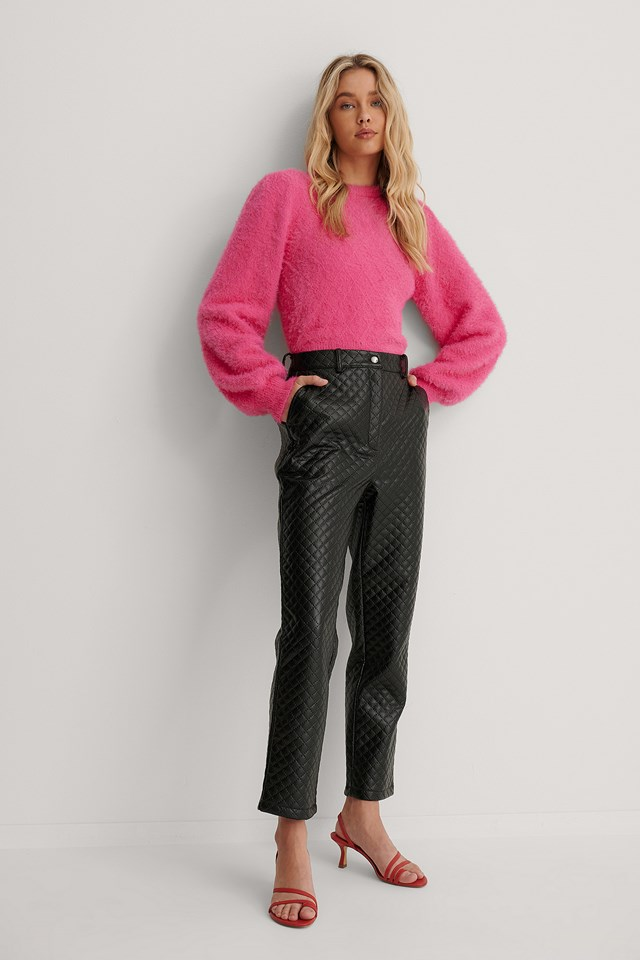 Quilted PU Pants Black