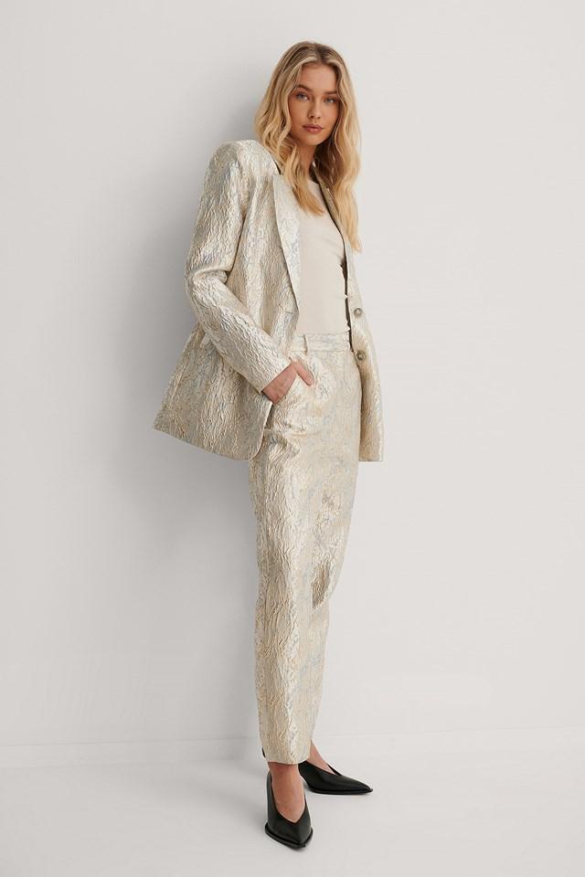 Straight Pattern Suit Pants Gold/Blue
