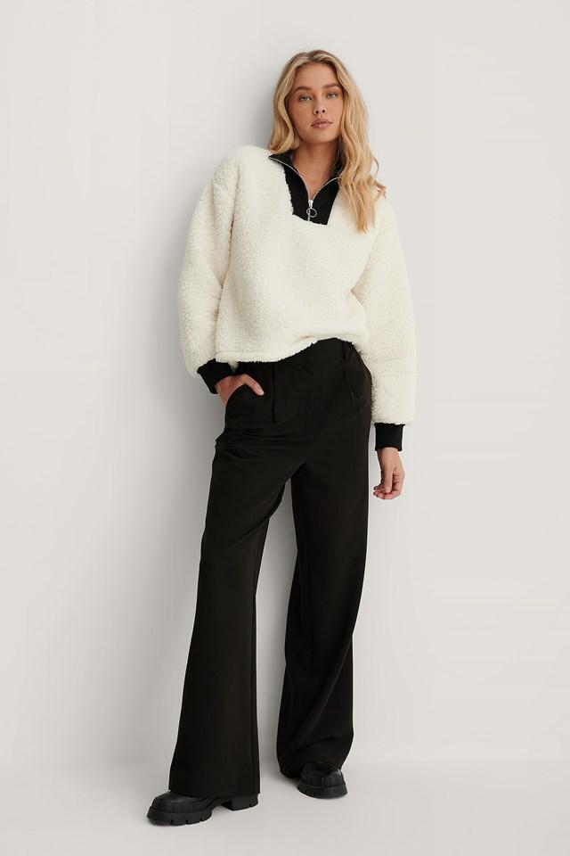 Teddy Zip Sweater White/Black