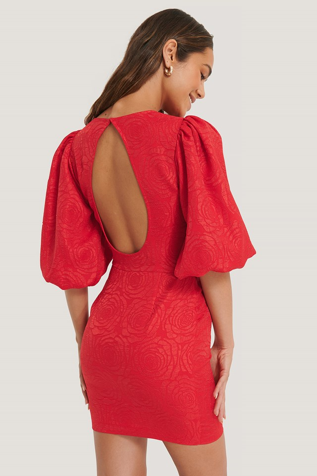 Open Back Puffy Sleeve Dress Red