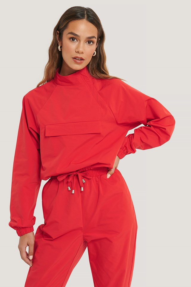 Pocket Detail Track Jacket Red