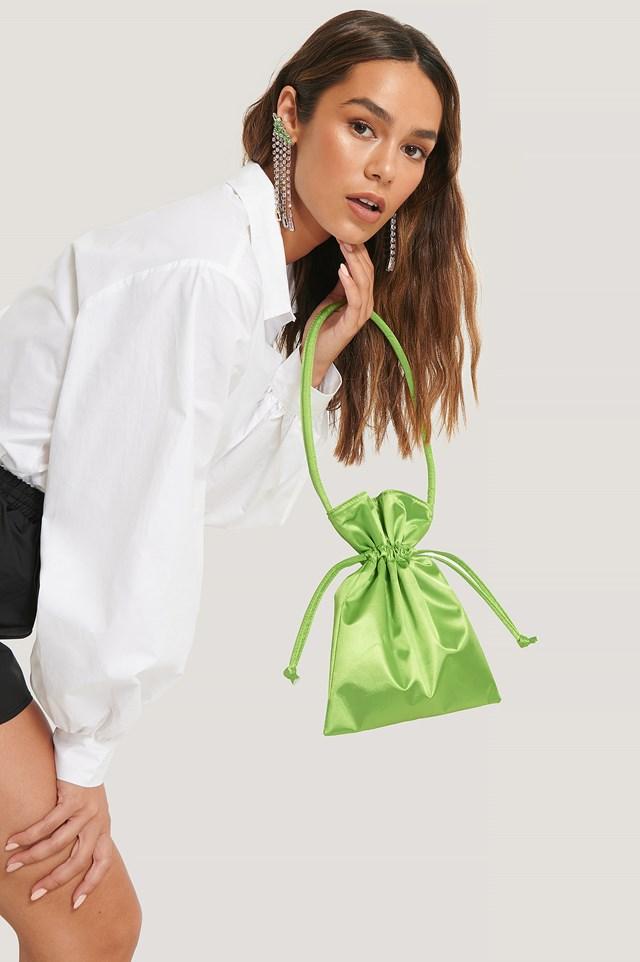 Satin Pouch Bag Green