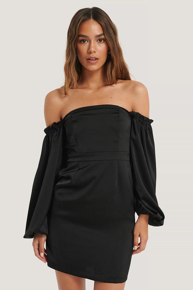 Volume Sleeve Dress Black
