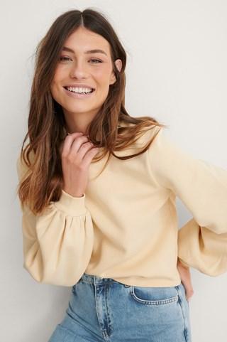 Beige Balloon Sleeve Organic Sweater