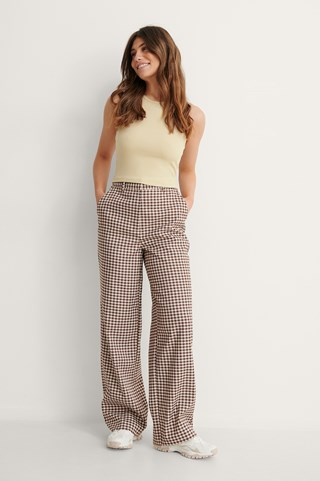 Brown Check Checked Suit Pants