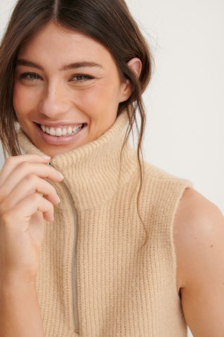 Beige Collar Detail Knitted Vest