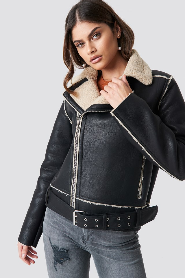 Belted Biker Jacket Black
