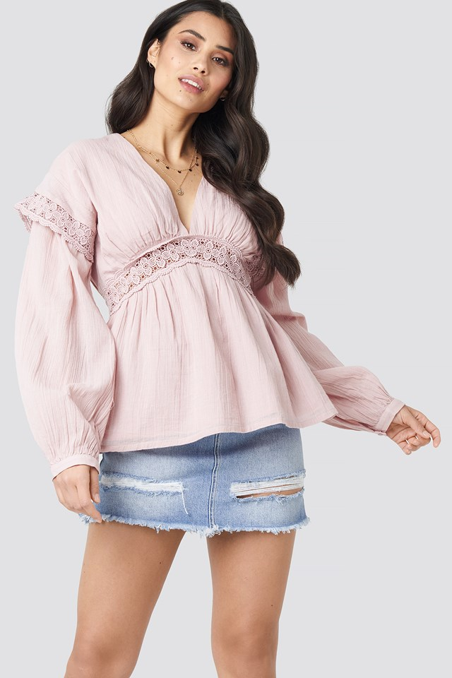 Puff Sleeve Blouse Dusty Light Pink