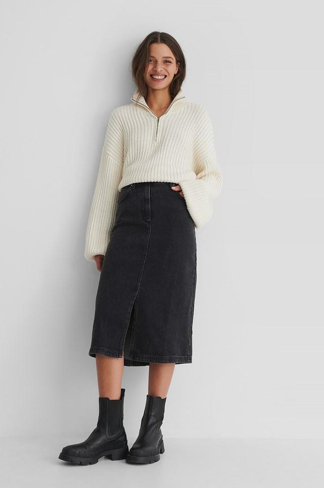 Bay Denim Skirt Grey