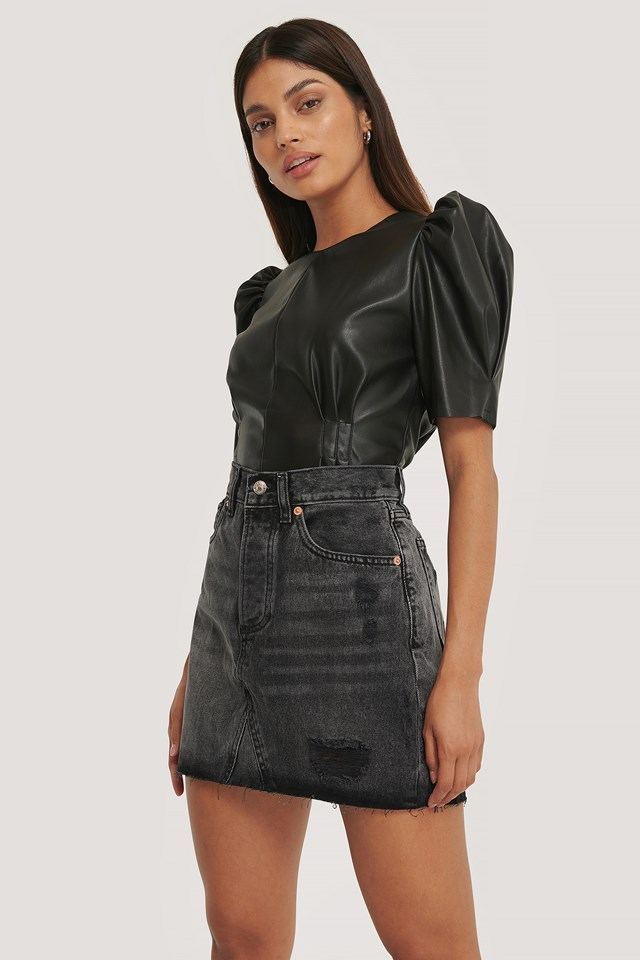Monica Skirt Black Denim