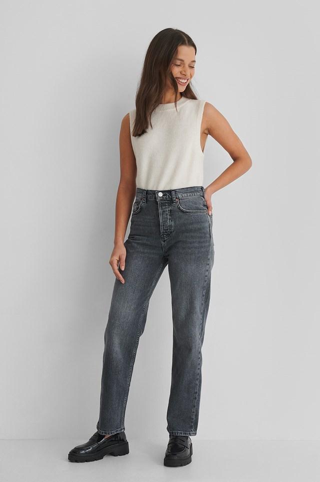 Premium Cropped Jeans Dark Denim