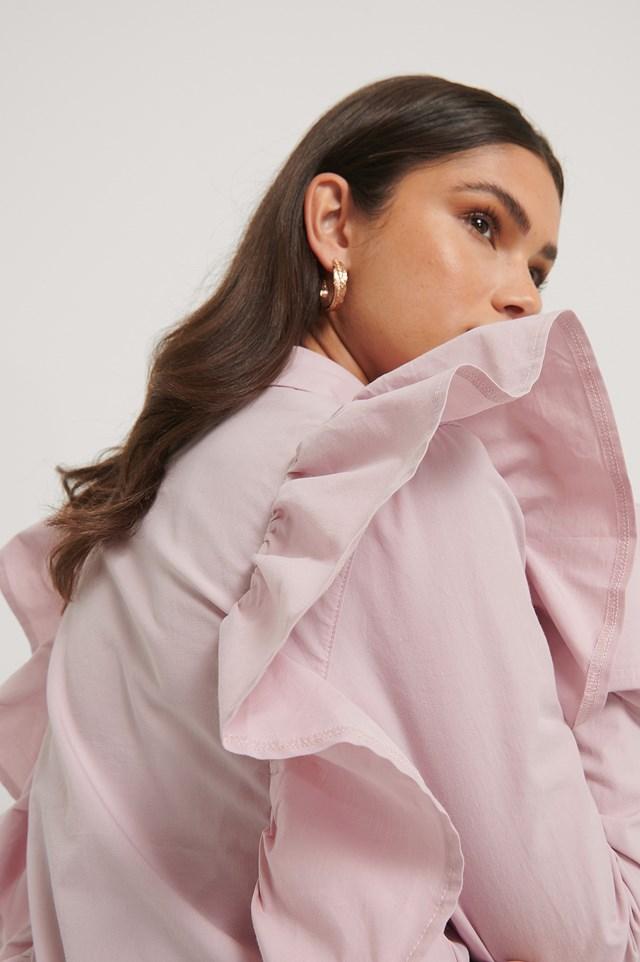 Frill Shoulder Shirt Dusty Pink