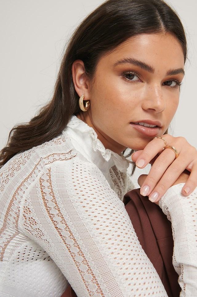 Light Knit Crochet Top White
