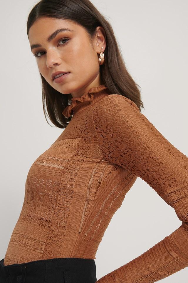 Light Knit Crochet Top Cognac