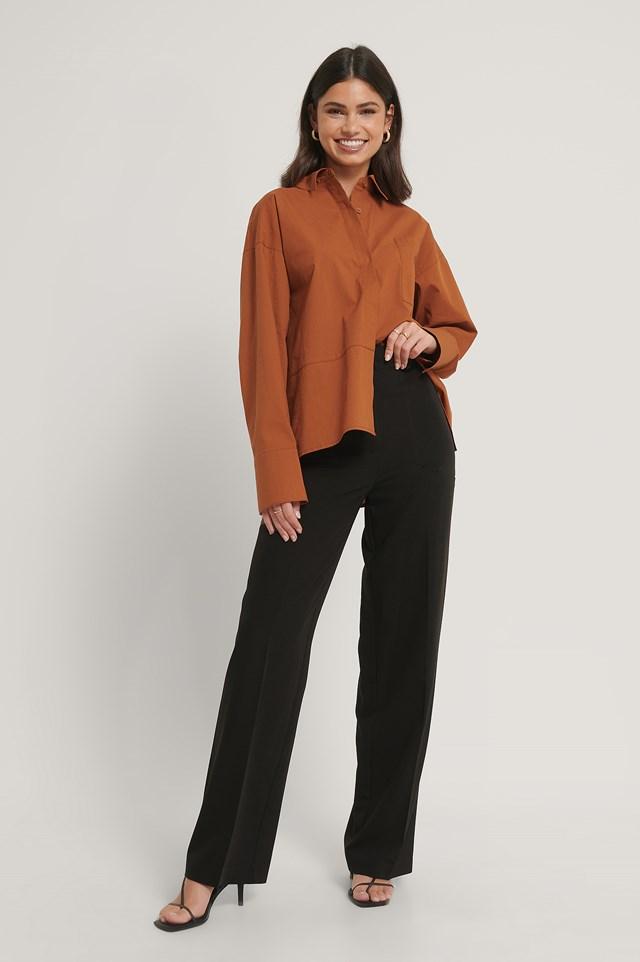 Side Pocket Wide Leg Suitpants Black