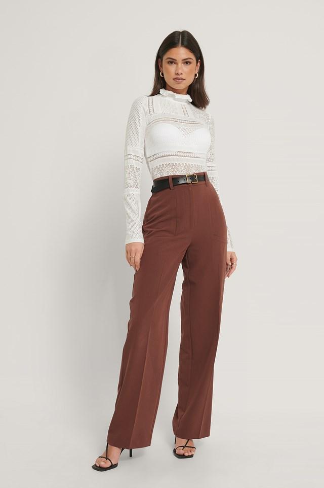Side Pocket Wide Leg Suitpants Cinnamon