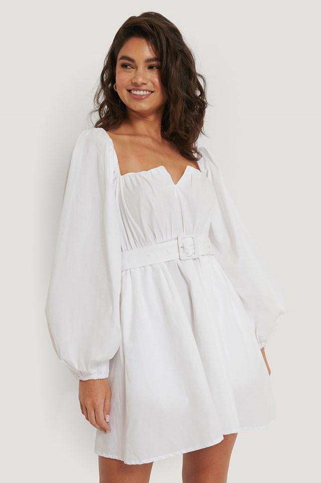 Balloon Arms Belt Dress White