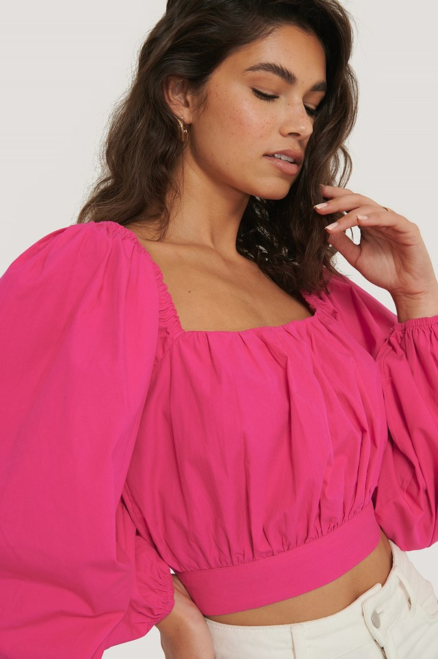 Balloon Arms Blouse Strong Pink