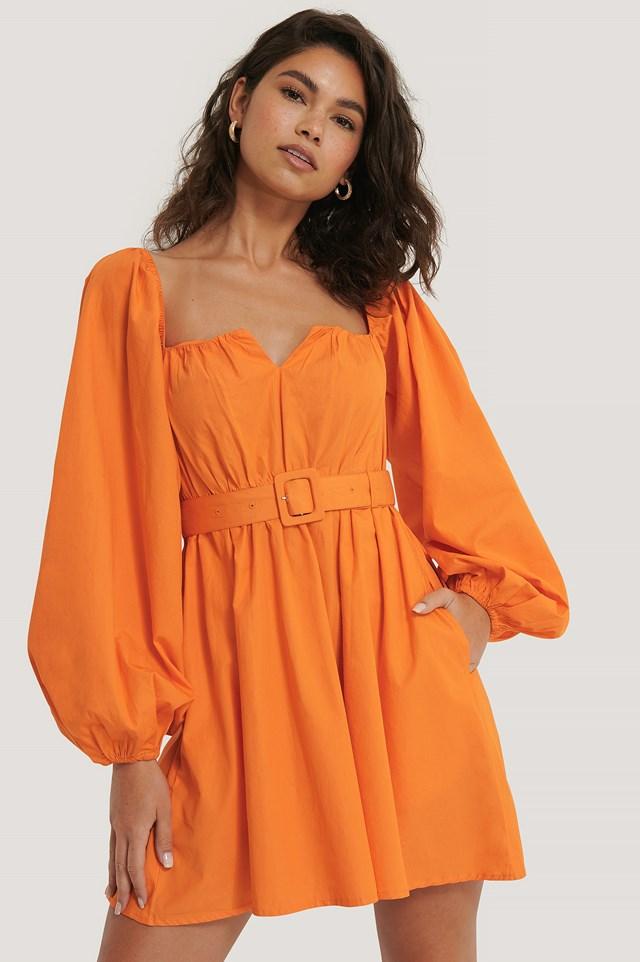Balloon Arms Belt Dress Orange