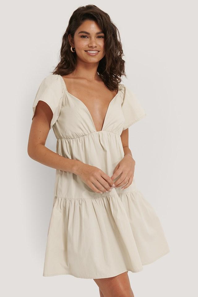 Flounce Shoulder Mini Dress Beige