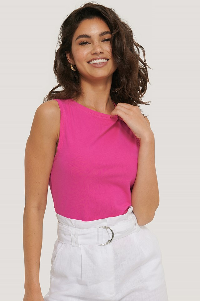Jersey Round Neck Top Strong Pink