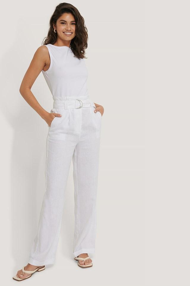 Linen Paperwaist Belt Pants White