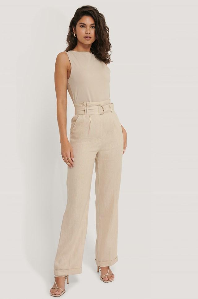 Linen Paperwaist Belt Pants Beige
