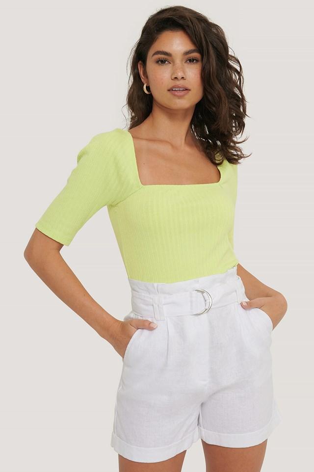 Linen Paperwaist Belt Shorts White