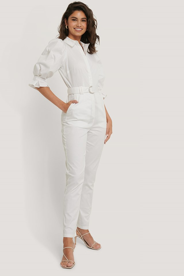 Puff Arms Belted Jumpsuit White