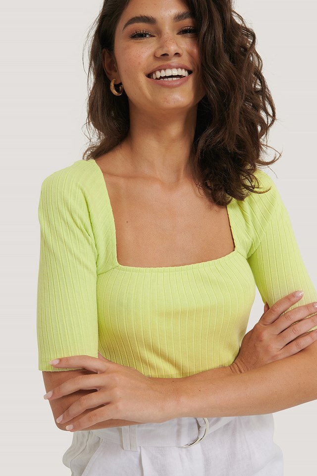 Square Neck Ribbed Top Green