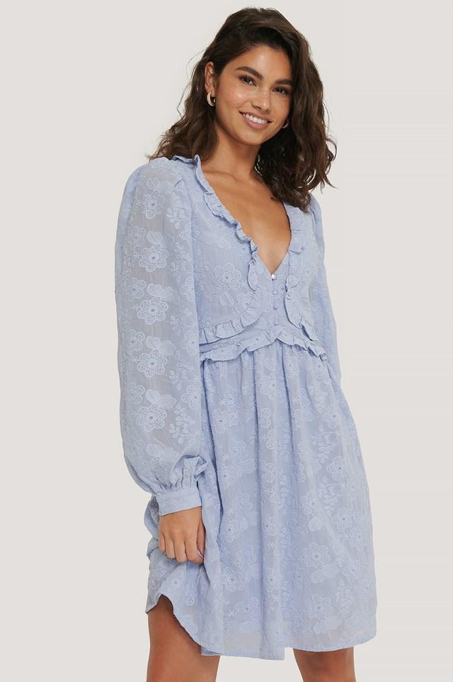 Textured Flowy Mini Dress Light Blue