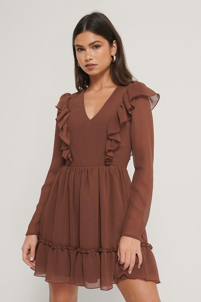 V-neck Frill Mini Dress Cinnamon
