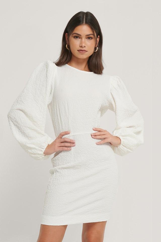Volume Sleeve Structured Dress White