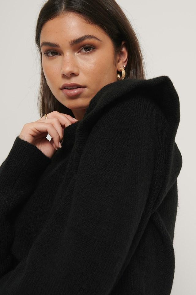 Wool Blend Volume Sleeve Knitted Sweater Black