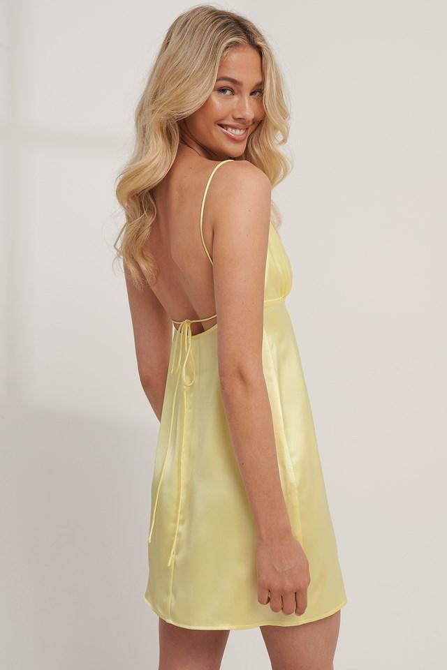 Tie Back Satin Dress Lemon