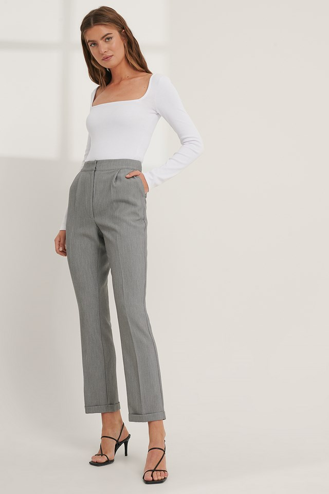 Grey Fold Up Suit Pants