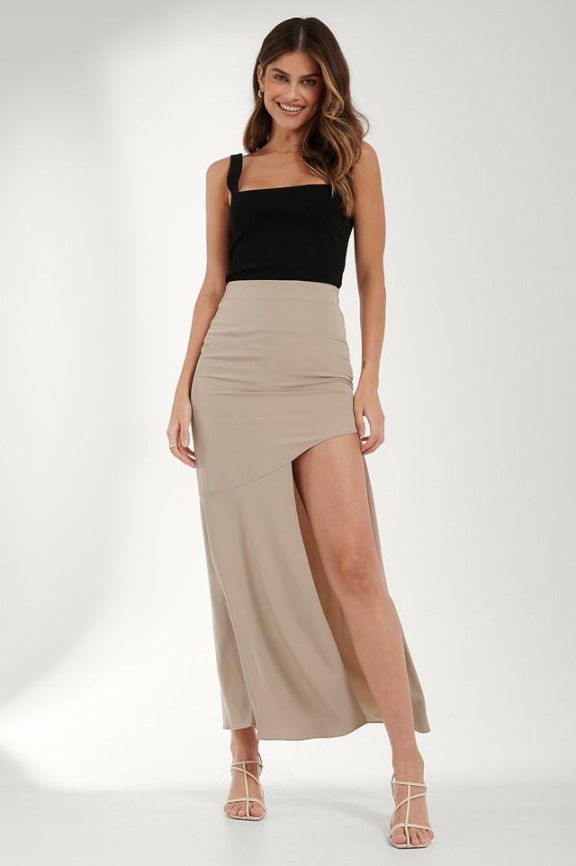 Asymmetric Flowy Skirt Beige