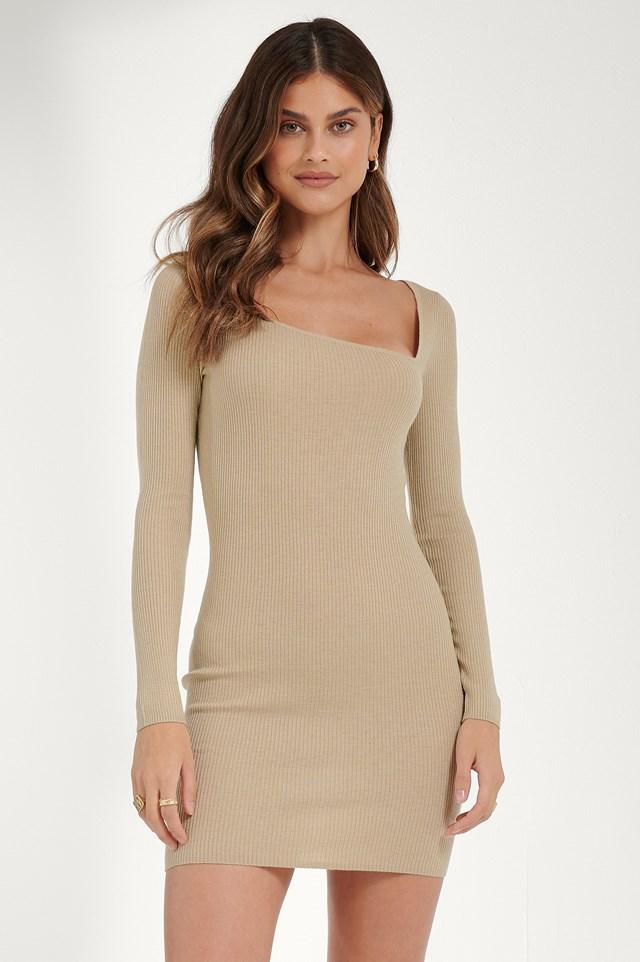 Asymmetric Neck Dress Light Beige