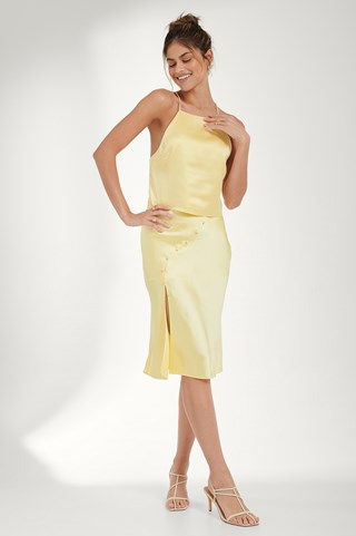 Dusty Yellow Button Detail Satin Skirt