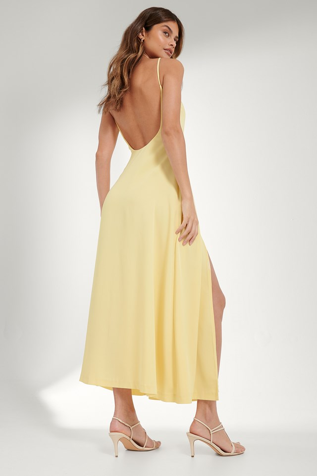 Open Back Maxi Dress Dusty Yellow