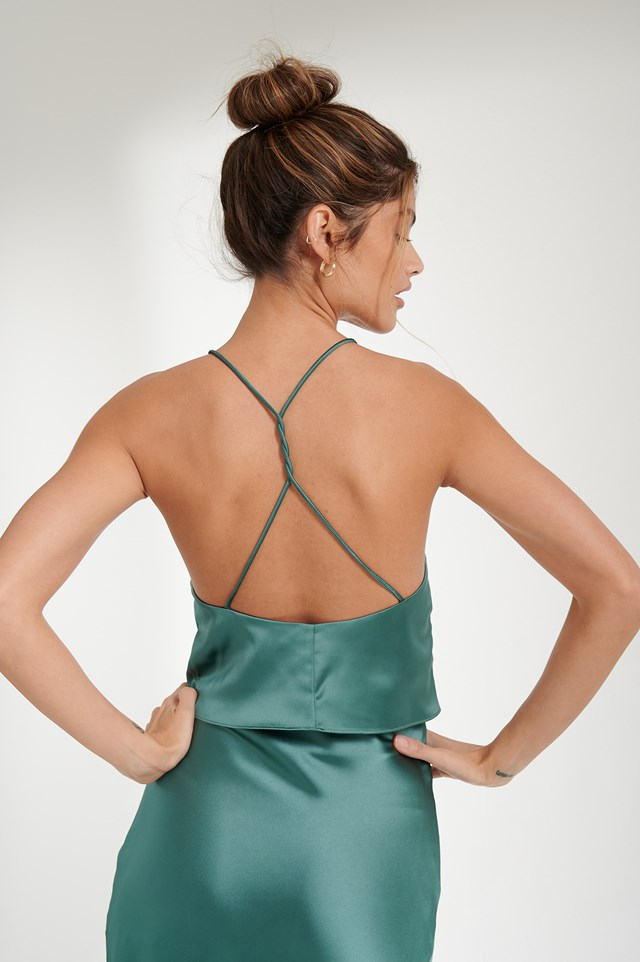 Open Back Satin Singlet Blue petrol