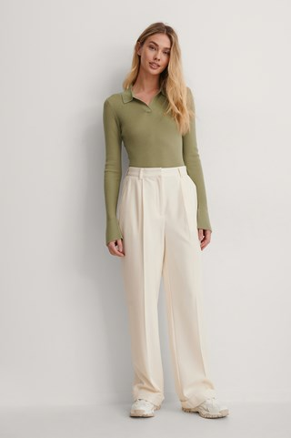 Cream Pleat Suit Pants