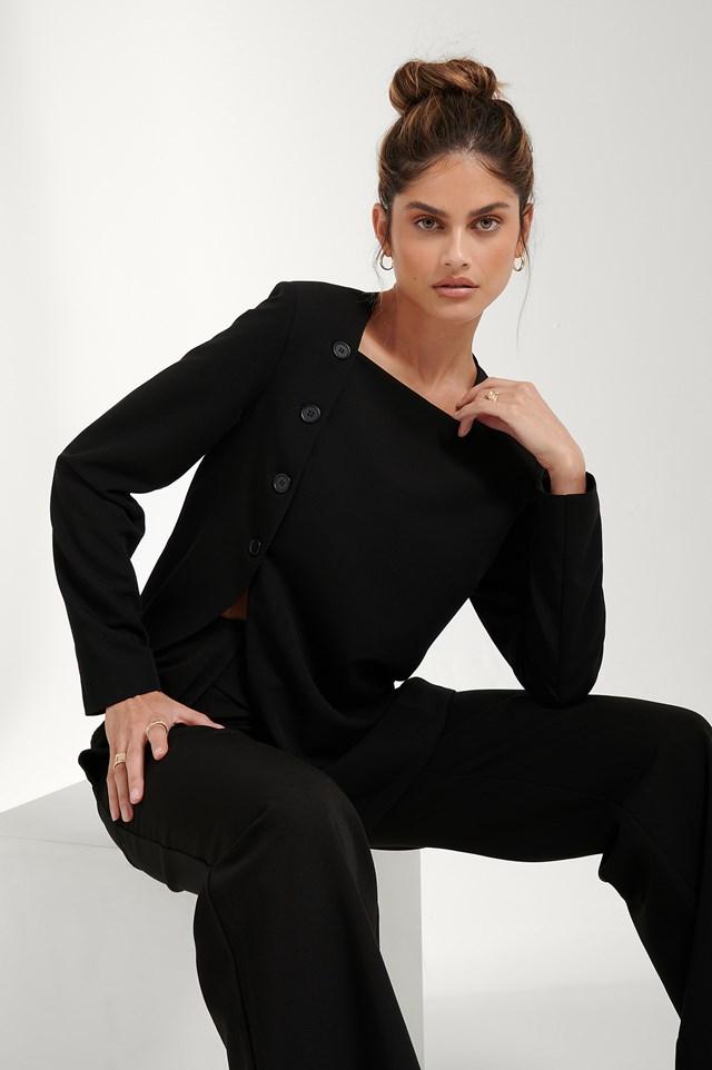Slit Asymmetric Blazer Black