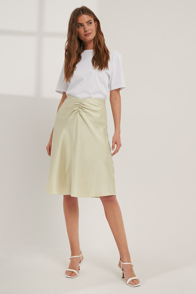 V-shaped Satin Skirt Frosty Mint