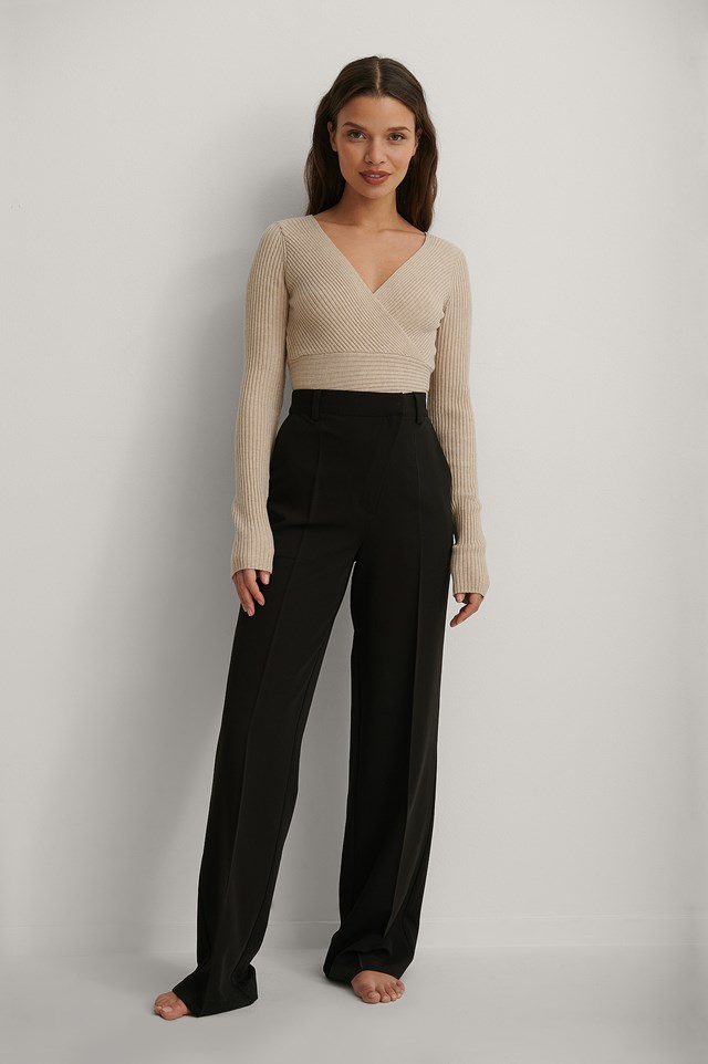 Beige Recycled Overlap Knitted Sweater