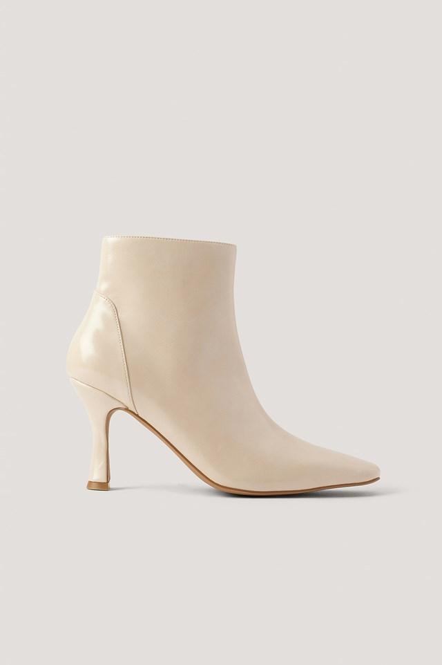 Beige Square Toe Boot